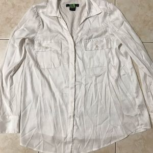 White Calvin Klein satin button down blouse Size S